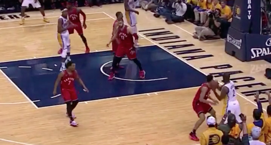 Rodney Stuckey fools Cory Joseph with the ultimate ball fake