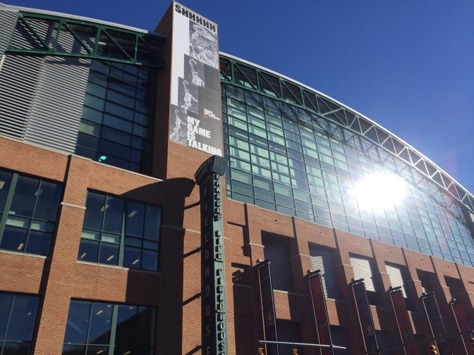 Paul George gets a banner outside of Banker's Life Fieldhouse